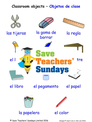 Classroom Objects in Spanish Worksheets, Games, Activities and Flash Cards