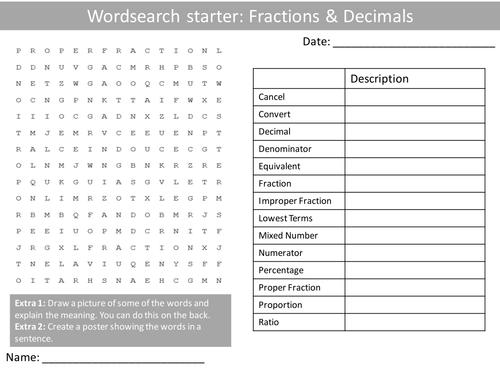 maths fractions decimals ks3 wordsearch crossword anagram alphabet keyword starter cover. Black Bedroom Furniture Sets. Home Design Ideas