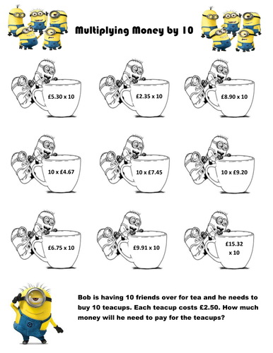 differentiated minions ks2 multiplying money by 10 by creativeclass13 teaching resources. Black Bedroom Furniture Sets. Home Design Ideas