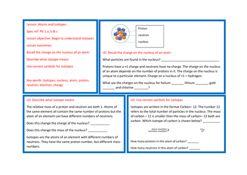 Physics / combined science OCR. Atoms and isotopes learning / revision mat new spec P6.1 a,b & c