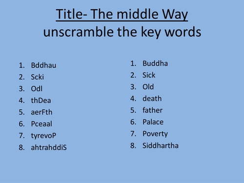Buddhism. The Middle Way
