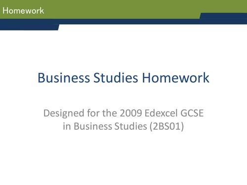 Homework strategies for GCSE Business Studies