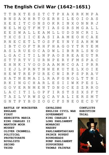 English Civil War Wordsearch Word Search