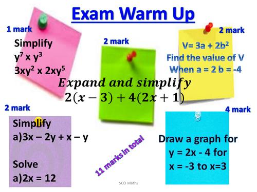 Exam Warm Up - Algebra starter