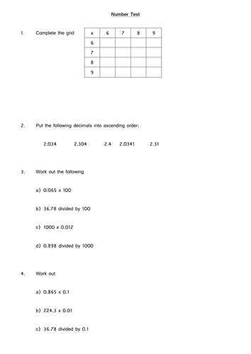 year 7/8 number test