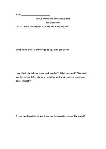 self evaluation for pupils to complete following up shape and space architecture competition