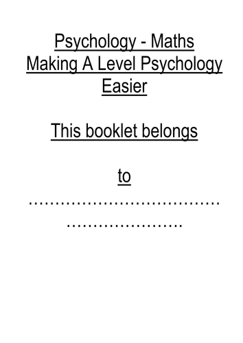 AS and A Level Psychology - Maths and Statistics