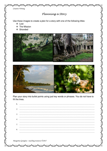 Images to inspire creative writing - planning template for an adventure story. Ideal for cover.