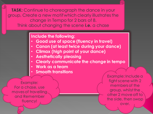 Task card for dance