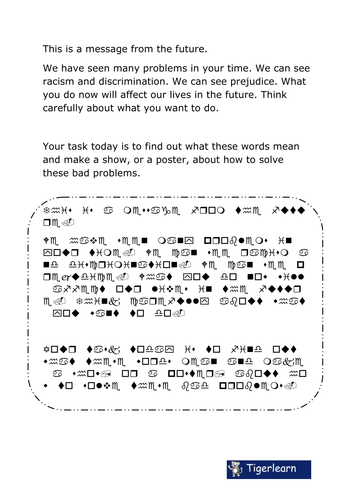 Alien message decoding - do a project on racism.
