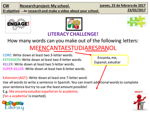 research project for ks3ks4 spanish my school