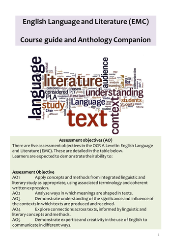 OCR Language and Literature EMC Course guide and anthology context companion
