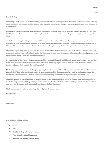WAGOLL for Formal Letter to JK Rowling LKS2