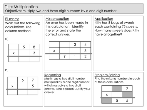 Mastery Maths - Multiplication - multiply two and three digit numbers by a one digit number