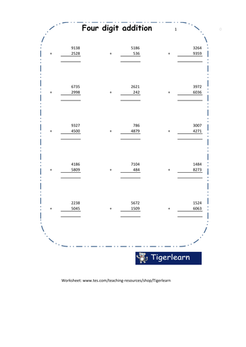 Addition of 4 digit numbers in columns freebie worksheet by