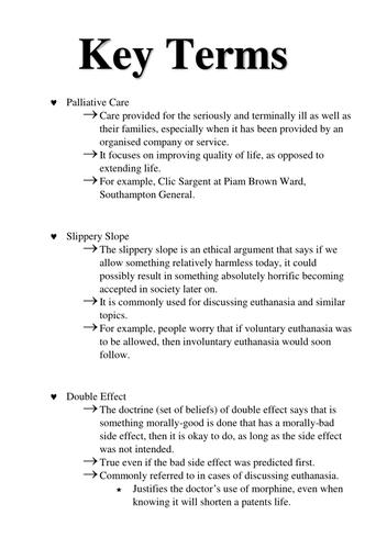 GCSE Philosophy and Ethics Key Words