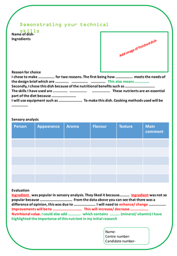 Food Preparation and Nutrition GCSE NEA task 2 Chosen dishes writing frame and written example.