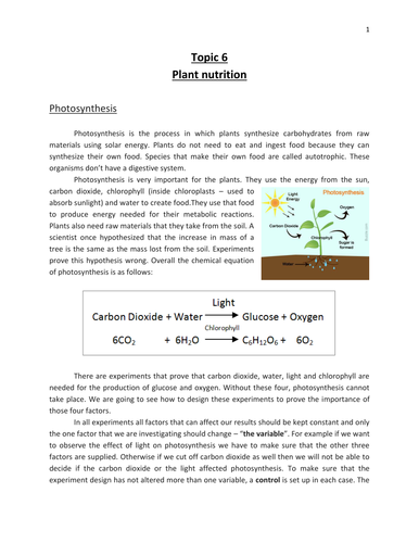 Photosynthesis and structure of leaves - IGCSE Biology - CIE