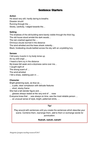 sentence starters and writing checklist for creative writing support. peer/self assessment
