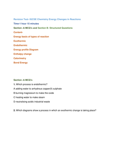 Revision Test- IGCSE Chemistry Energy Changes in Reactions