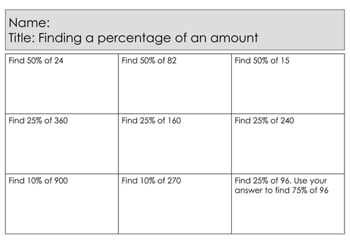 New Maths GCSE Specification - Foundation - Percentages - Finding a percentage of an amount