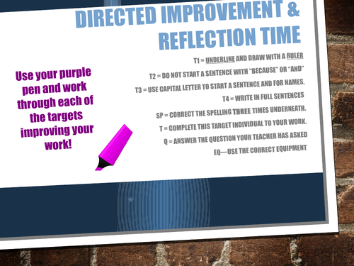 Directed Improvement and Reflection Time DIRT Marking Sticker and Powerpoint