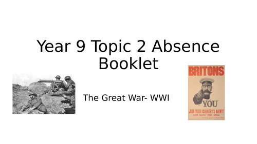 WWI Activity Booklet for absence