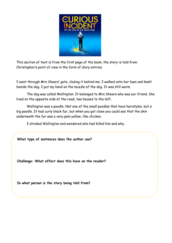Curious Incident- full lesson. Comprehension and writing task KS3 and KS4