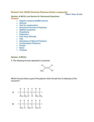 Revision Test- IGCSE Chemistry Polymers (Carbon compounds)                       Time-1 hour 15 min