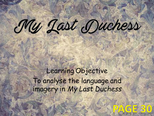 a literary analysis of my last duchess by robert browning Mr beasley teaches the poem my last duchess by robert browning.
