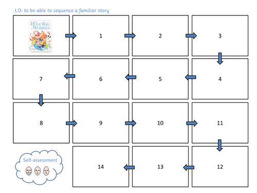 Sequencing a story (Huge bag of worries) - Differentiated activity