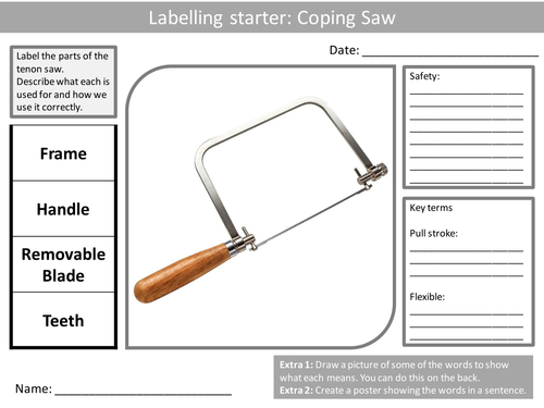 10 Design Technology Tools Labellers KS3 GCSE Keyword
