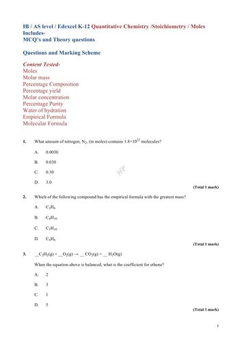 IB / AS level / Edexcel K-12 Quantitative Chemistry /Stoichiometry / Moles