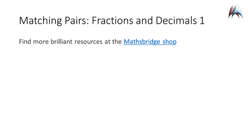 Matching Pairs Memory Game - Fractions and Decimals