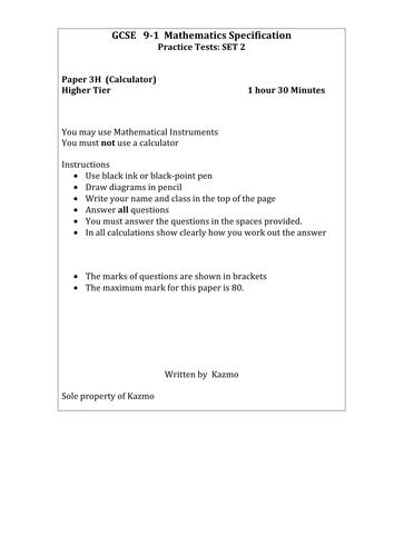 9-1 Maths Exam Higher Tier 3H/SET 2