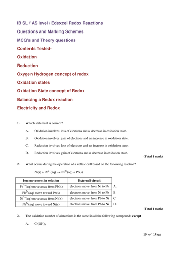 ib design lab redox reactions Home page for ib chemistry unit 12: organic reactions organic reactions notes assignments labs web resources guiding questions: what is a polymer what is all that stuff on the back of the bottle.