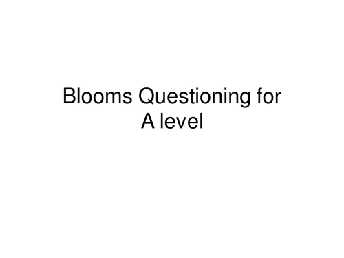 Blooms Hierarchy Questions for Sociology