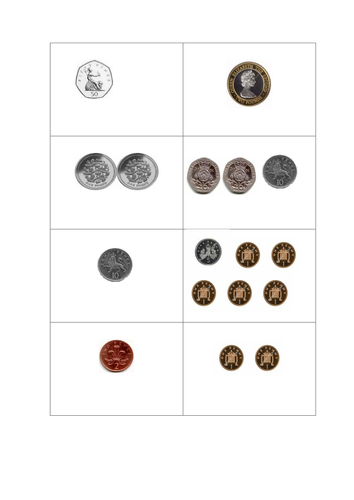Coin Cards UK (Money) - Recognise different amounts of coins