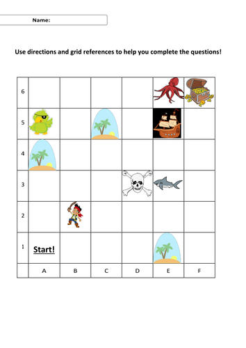First Level Ks1 Grid Directions Worksheet Questions Shape