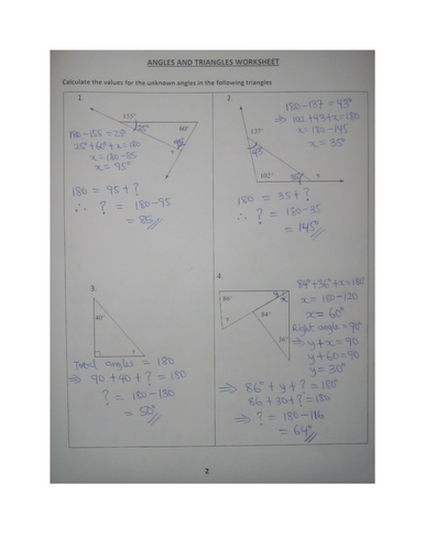 Angles And Triangles Worksheet With Answers By