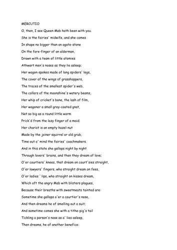 what is the queen mab speech about