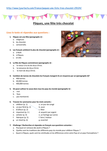 Pâques, une fête très chocolat: Easter Text, Worksheet, Questions, Video and Research Project