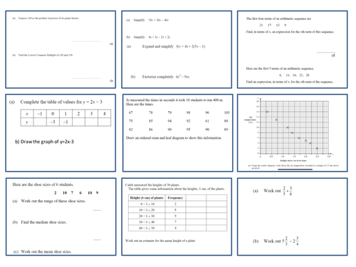 REVISION QUESTIONS FOR FOUNDATION GCSE