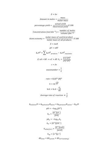 OCR B Salters Chemistry maths equations