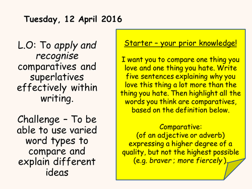 Comparatives and Superlatives - Key Stage 3 English