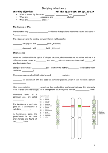 AQA A-level Biology (2016 spec). Section 7 Topic 17: Inherited changes Class notes