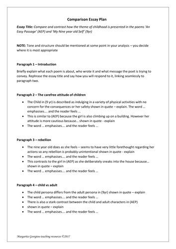 poems of the decade comparison essay plan to my nine year old  poems of the decade comparison essay plan to my nine year old self an easy passage by magz2978 teaching resources tes