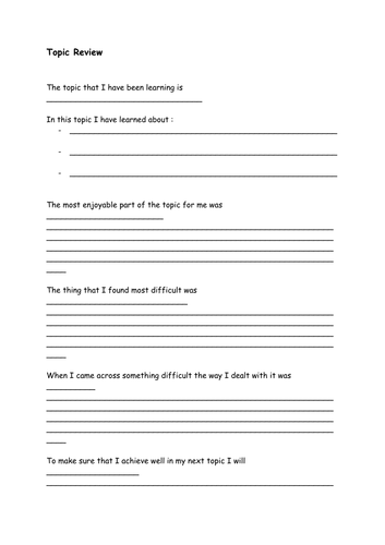 Topic Review Questions/Sentence starters