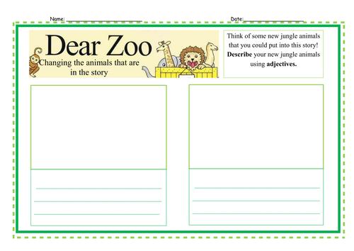 Dear Zoo Literacy Worksheets - Year One