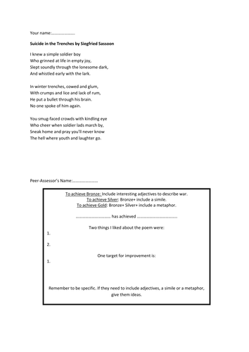 Key Stage Three Lesson- Remembrance poetry